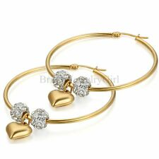 Fashion Ladies Love Heart Dangle Stainless Steel Large Hoop Earrings Mother Gift