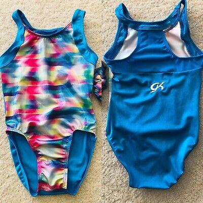 NWT GK Elite Simone Pink Orange Gymnastics Leotard Child /& Adult Sizes
