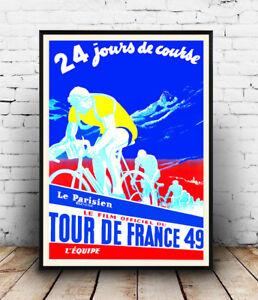 Tour-De-France-49-Vintage-Cycling-advert-Wall-art-poster-Reproduction