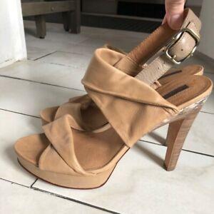 Modern Vintage Norma leather sandal heel tan size 40 (W10)