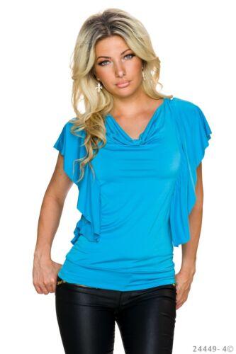 Fledermausarm Wasserfallkragen gerafft Shirt one size,