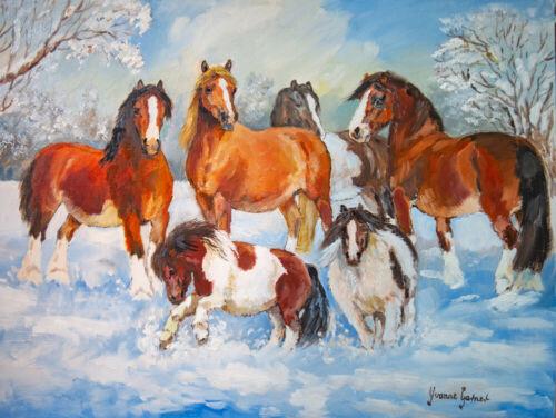 Cartes de Noël X 6-Hillside Animal Sanctuary-peiné hiver scènes