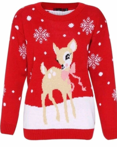NUOVO Donna Bambini Natale Bambi Baby Deer Stampa Maglione Lavorato a Maglia NATALE Top UK 3//4-22