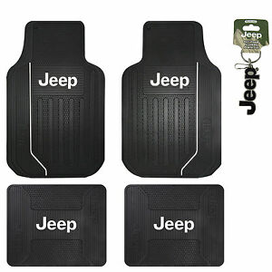 New Jeep Elite Series Logo Front Rear Back All Weather Rubber Floor Mats Black by Plasti Colors