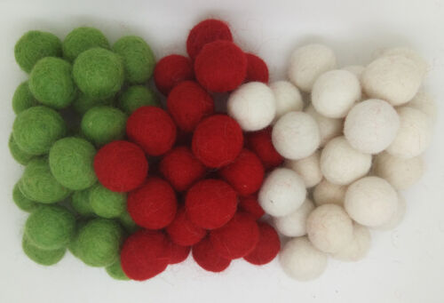 1200 Christmas red green /& white pom pom felt garland making beads Woolen balls
