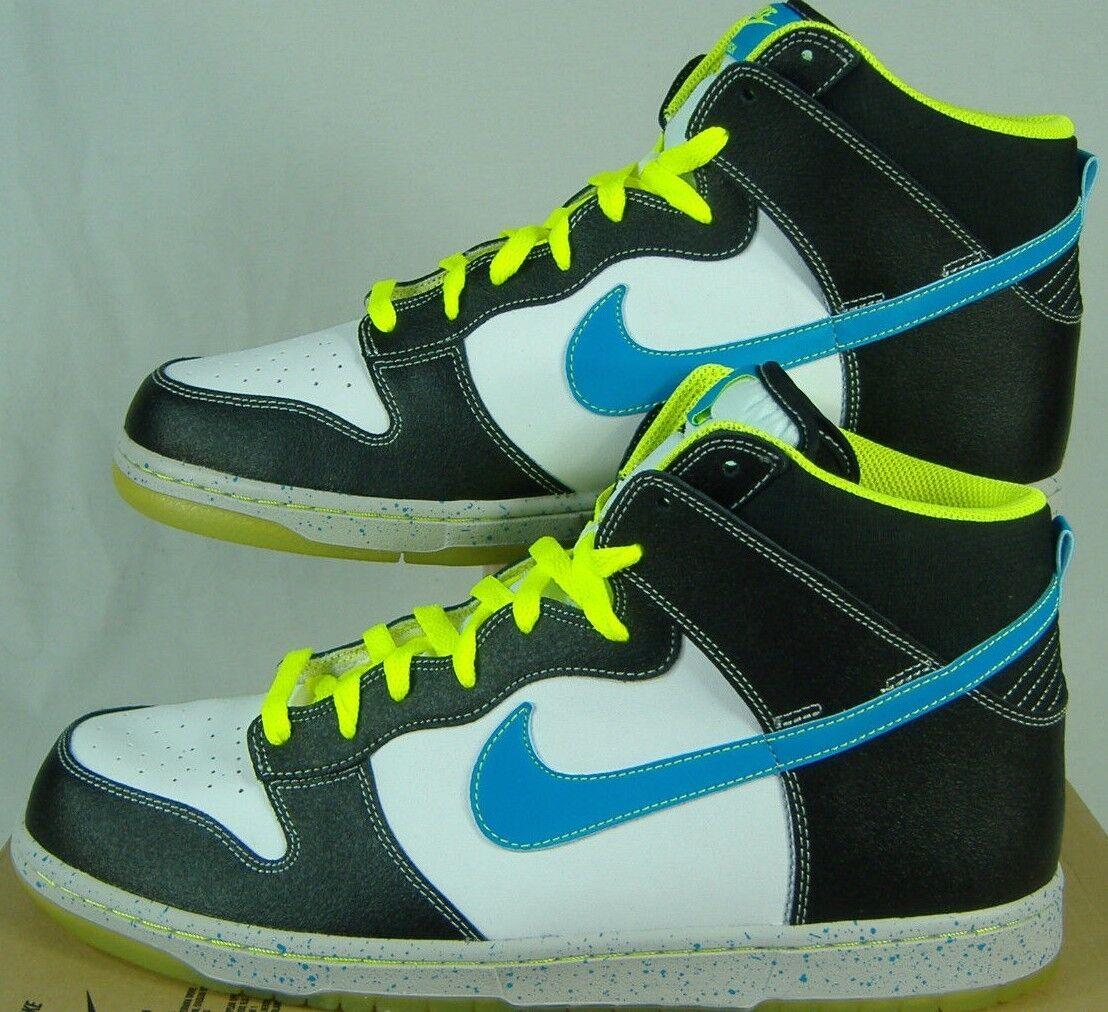 New Mens 10.5 NIKE Dunk High AS PRM White Black Blue Glow Shoes 95 558493-143