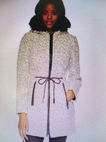 IVANKA TRUMP Wool Adjustable Pu Drawstring with Faux Fur COAT