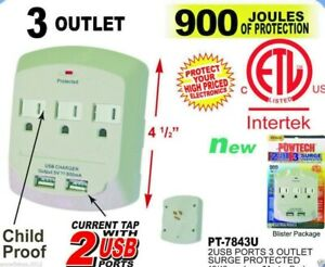 3-Outlet-Surge-Protector-Wall-Tap-W-2-Ports-Child-Proof-900-Joules