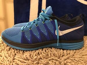 timeless design a27ac 43e18 Image is loading Nike-Flyknit-Lunar-2-Vivid-Blue-White-Game-