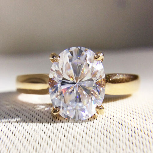 2Carat Oval Moissanite Engagement Ring Halo Solitaire 14K Yellow gold over