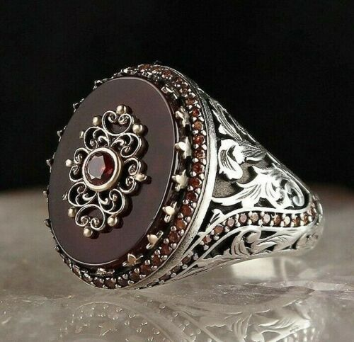 Turkish Popular 925 Sterling Silver Red Agate Aqeeq Mens WONDERFUL Ring ALL SİZE