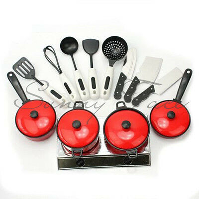 13PCS Kid Play House Toy Kitchen Utensils Cooking Pots Pans Food Dishes Cookware