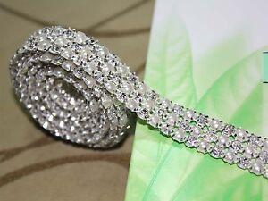 1 Yard 5mm Diamond A Rhinestone and Pearl Wedding Cake Trim Sewing Ribbon Deco