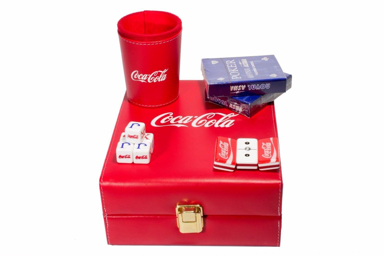 Coca-Cola Deluxe Set 3 Games: Domino, Dice Cup, 2 Poker Cards