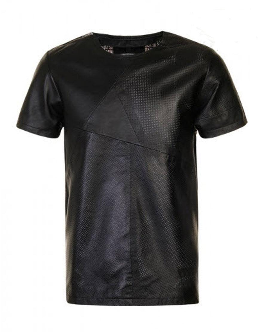 Sons Of Helden Herren Leder Sterne Streifen T-Shirt Schwarz (SOHST001)