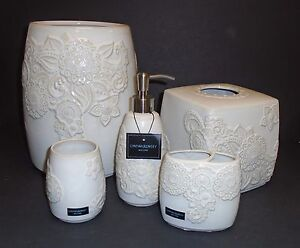 New 5 Pc Set Cynthia Rowley White Ivory Floral Ceramic Soap Dispenser Trash 3mor Ebay