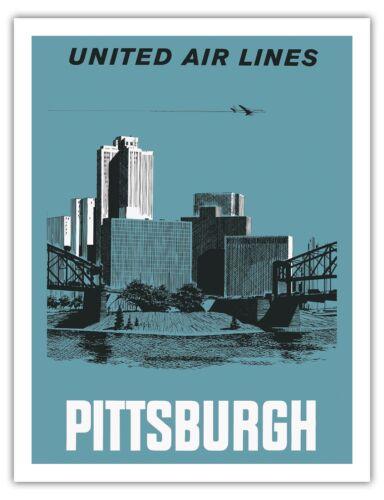 Pittsburgh Pennsylvania USA Vintage Airline Travel Art Poster Print Giclee