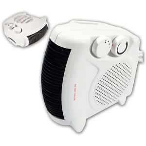New White Small Quiet Portable 2Kw 2000W Electric Floor /& Upright Fan Heater