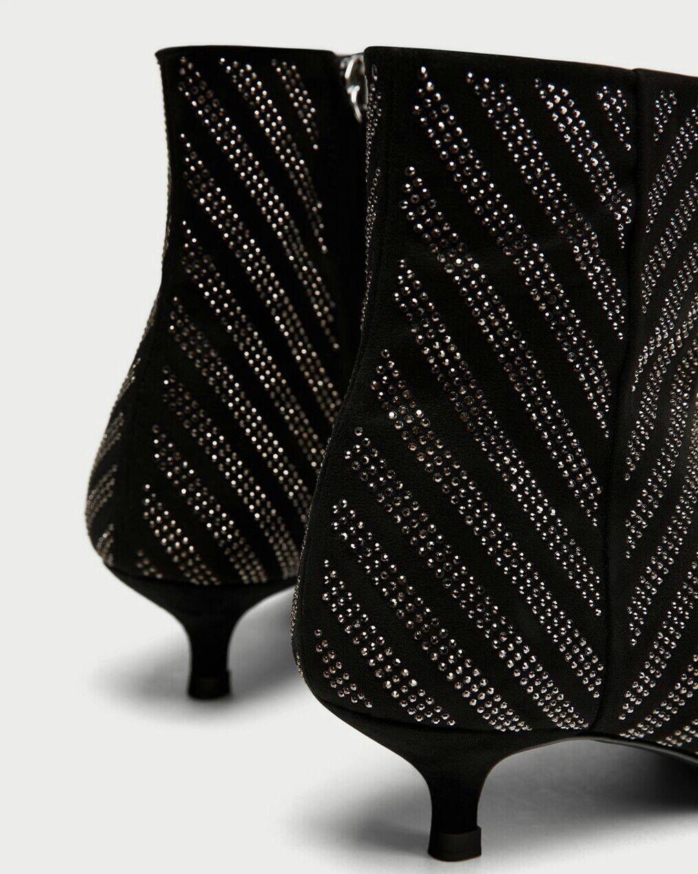Zara schwarz with glitter UK detail ankle Stiefel 39 UK glitter 6 4a073e