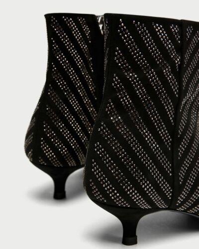 Glitter Zara Stripe Uk 6 Chevron Black Ankle 39 Boots 0rq0Ywa