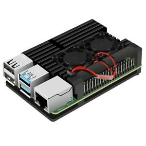 for Raspberry Pi 4 Aluminum Case with Dual Cooling Fan Metal Shell Black En S3C3