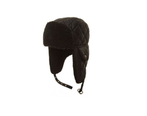 Adults/' Unisex Black Quilted Trapper Hat 3 Sizes Fast Post 1st class