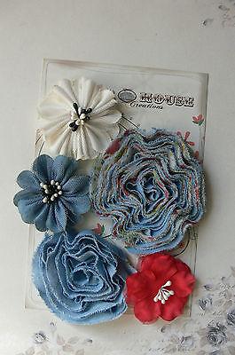 Mixed Light Blue DENIM WHITE & RED Fabric 5 Flower Pack 5-7cm across Manor House