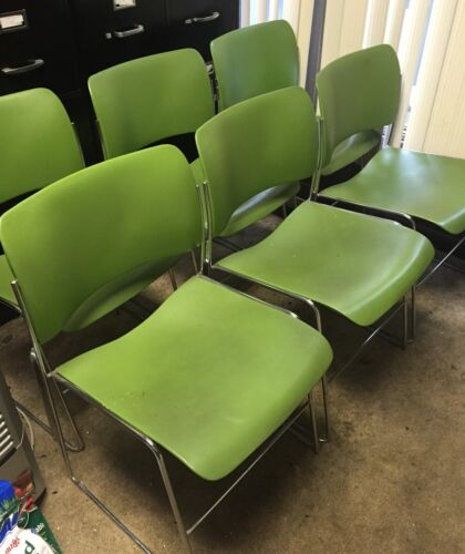 Green David Rowland Chairs 40/4 Stacking Mid Century 1979 -- 10 available!