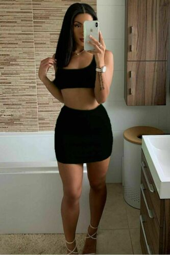 Womens Ladies Ribbed Sleeveless Crop Top Mini Skirt Two Piece Co-rd Set Dress