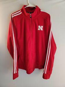 Adidas Nebraska Cornhuskers Jacket Adult XL Men Red White Full Zip soft fleece