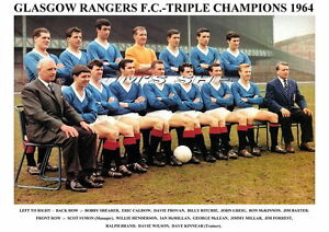 GLASGOW-RANGERS-F-C-TEAM-PRINT-1964-TRIPLE-WINNERS