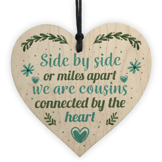 Cousin Birthday Gift Wooden Heart Chic Plaque Keepsake Family Friendship Sign For Sale Online