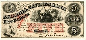 1863-Macon-Georgia-Savings-Bank-5-00-Five-Dollar-Obsolete-Note-Grading-XF