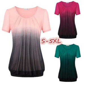 Women-Casual-Gradient-Blouse-Summer-Beach-Printed-Pleated-Ruched-T-Shirt-Tops-AU