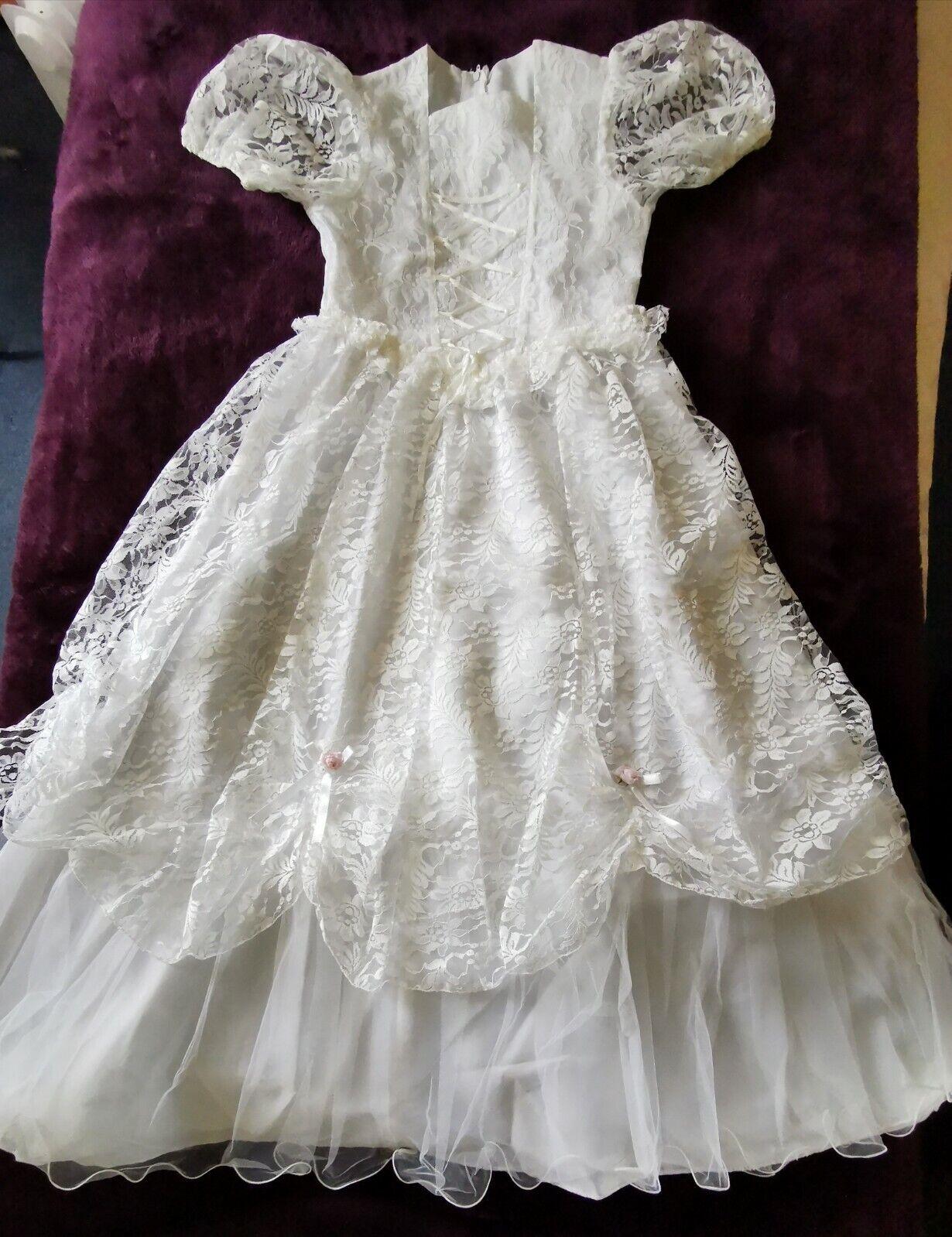 90s Vintage Girl Bridesmaid Flower Girl White dress Holy Communion dress