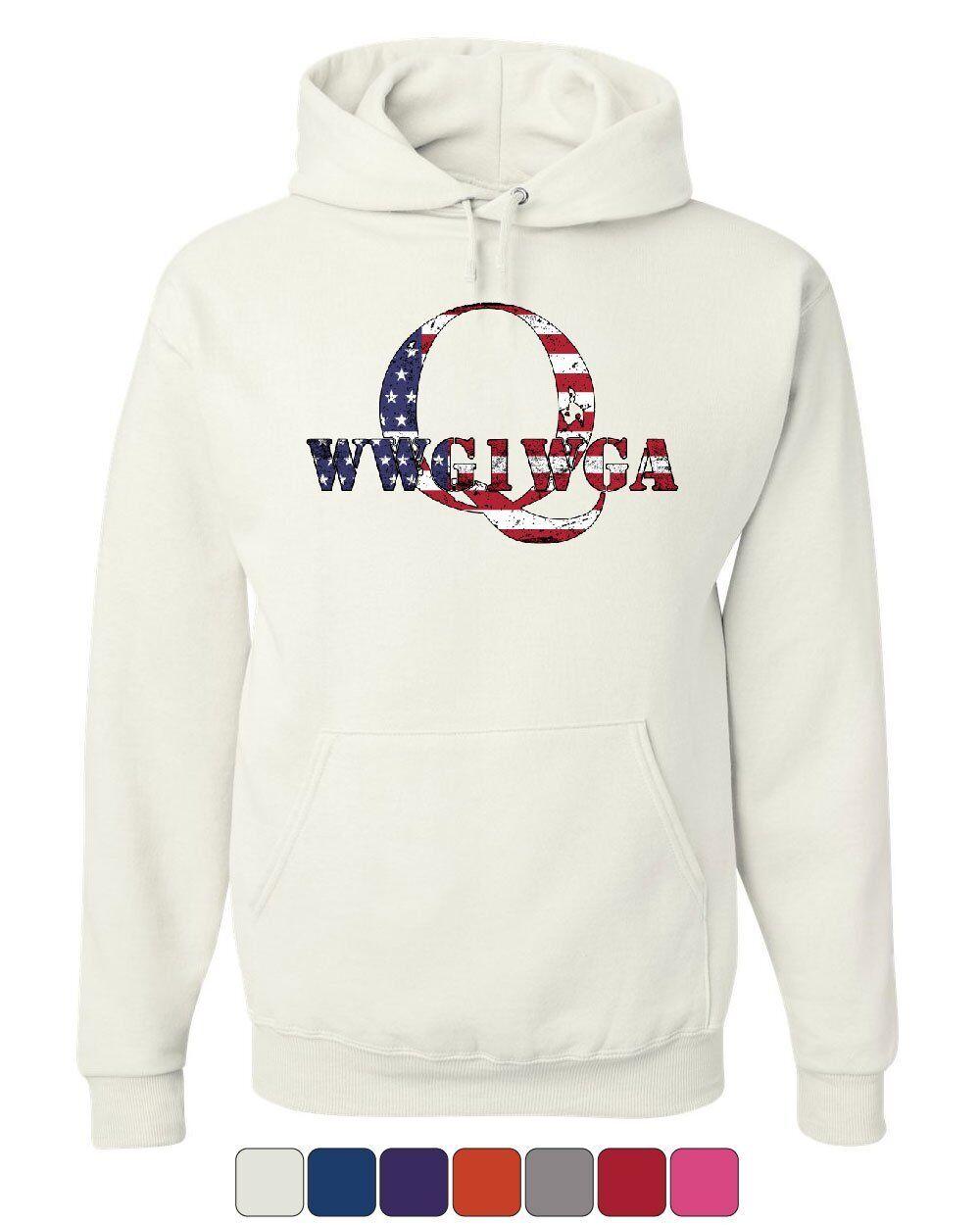 Q ANON WWG1WGA Stars And Stripes Hoodie Where We Go 1 We Go All Sweatshirt