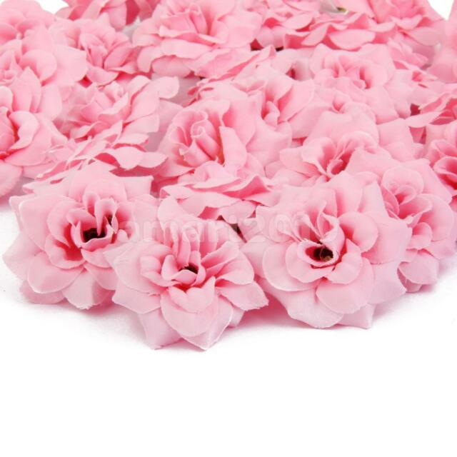 50x Pink Rose Heads Silk Flower Weddingreception Table Decorations