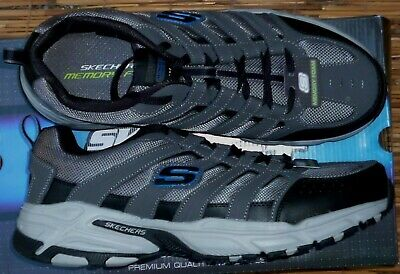 SKECHERS STAMINA PLUS RAPPEL MENS COOL LEATHERMESH CHARCOAL ATHLETIC SHOES | eBay
