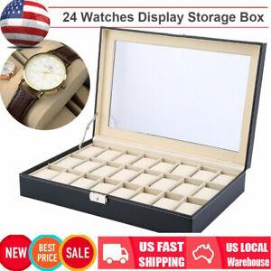 24-Slot-PU-Leather-Watch-Box-Display-Case-Glass-Top-Jewelry-Storage-Organizer