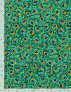 Peacock PLUME Coordinate Jade Feathers CM8669 Timeless durable cotton Fabric