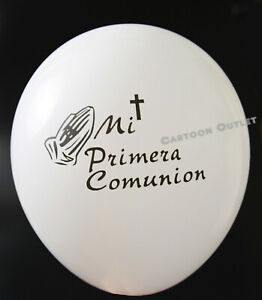 12-PRIMERA-COMUNION-GLOBOS-PARTY-FAVOR-DECORATION-WHITE-FIRST-COMMUNION-BALLOONS
