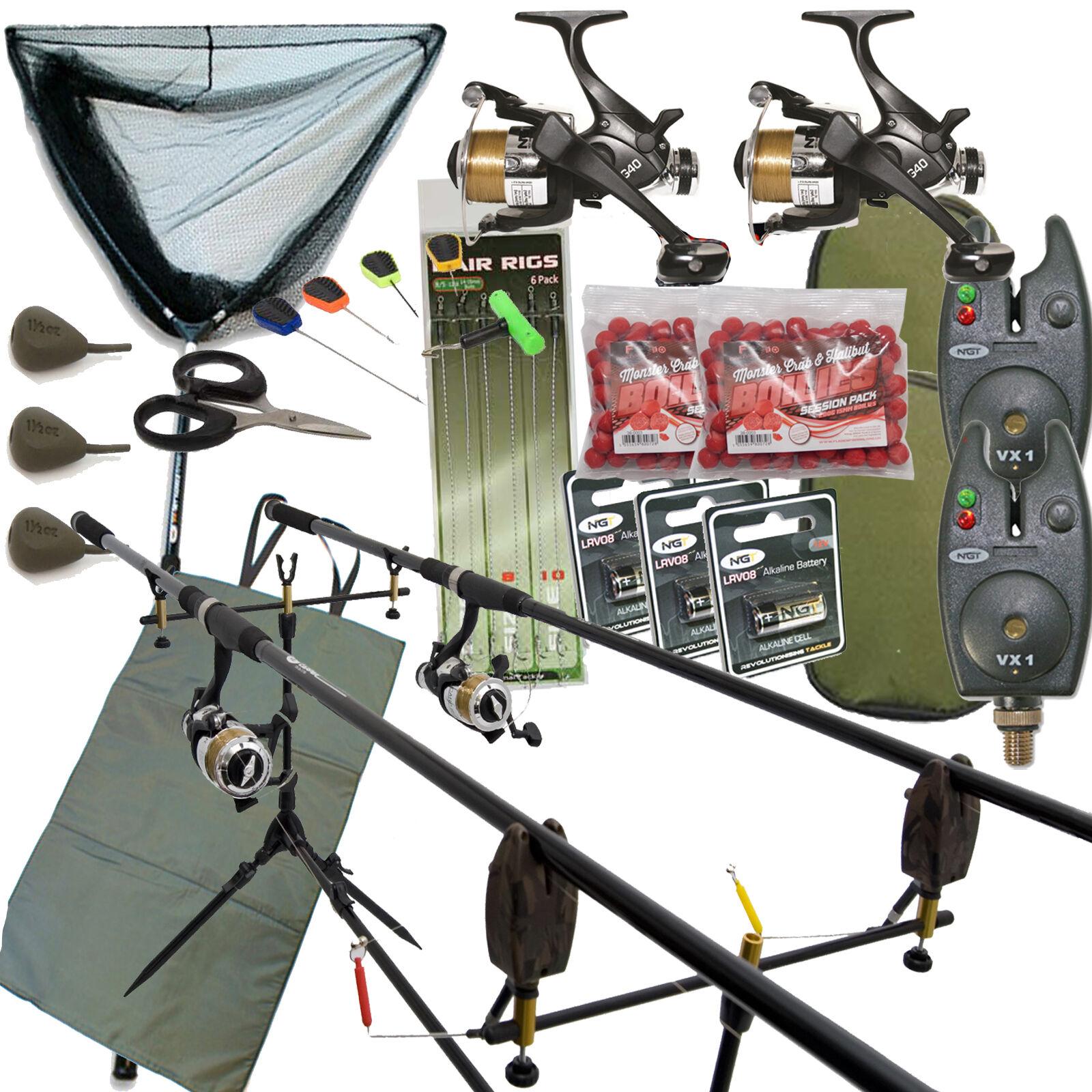 Completo Pesca autopa Set Set Set Up con 2 Mulinelli Canne da tuttiarmi Retino Attrezzatura 377