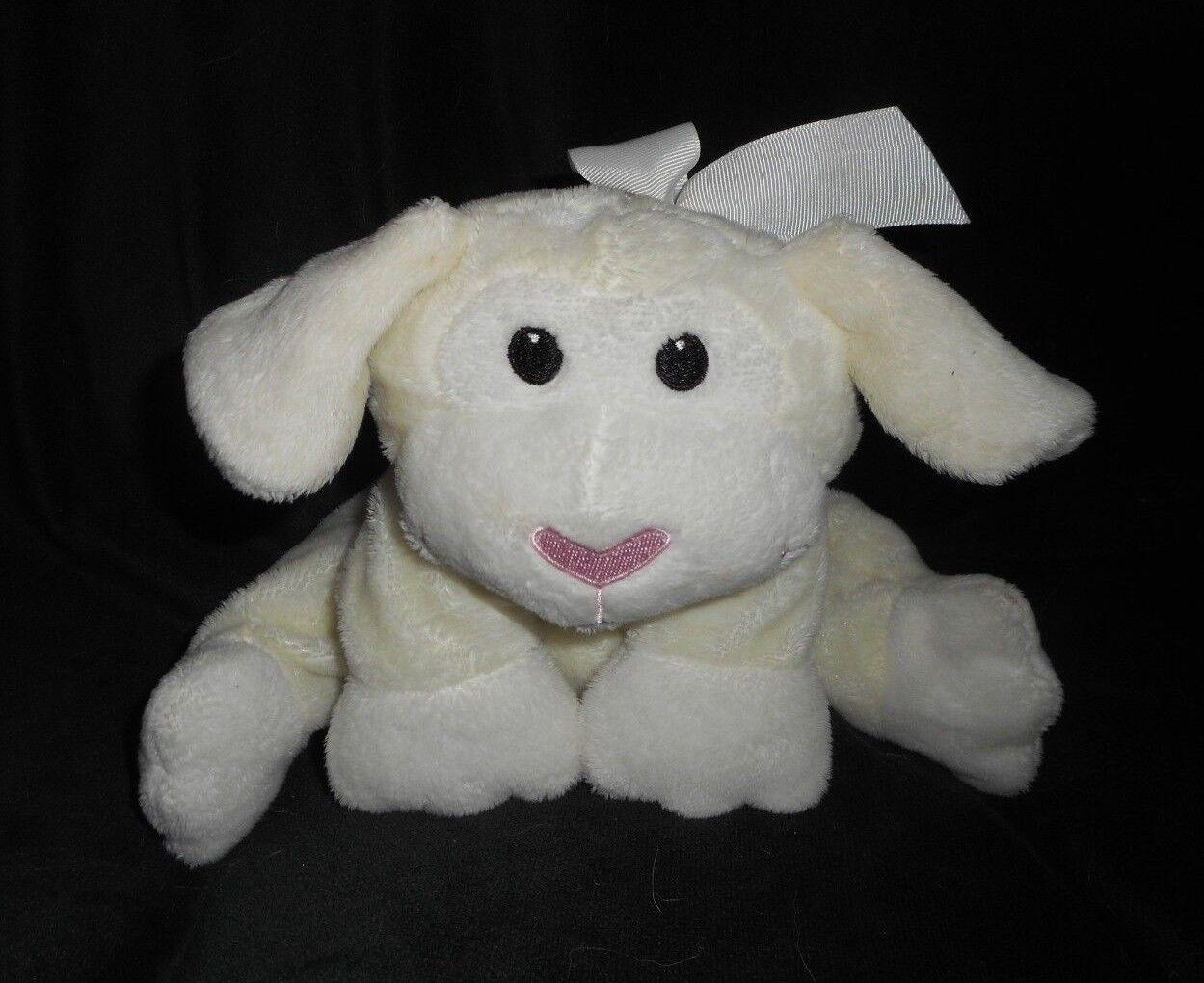 12    2007 ANIMAL ADVENTURE BABY CREME FLOPPY LAMB STUFFED ANIMAL PLUSH TOY W  BOW 467689