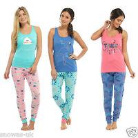 Ladies Cotton Summer Pyjamas Print Vest Top & Long Bottoms PJs Nightwear Set