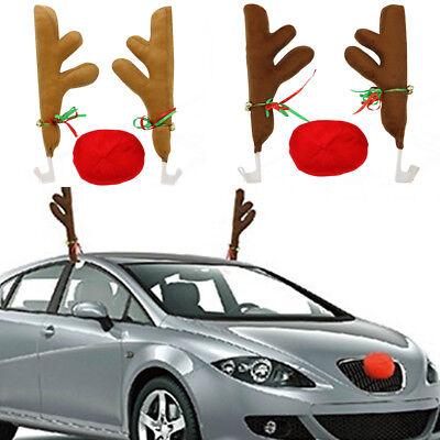 CAR REINDEER ANTLERS HORNS /& RUDOLPH NOSE CHRISTMAS FESTIVE DECORATION SET NEW