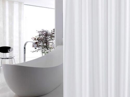 Edler Textil Duschvorhang 240 x 200 cm Weiss Weiß Uni Wannenvorhang Badewanne