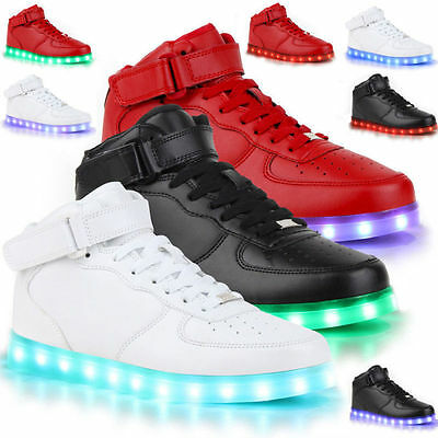 Kids High Top Boys Girls USB 7 Color LED Light Up Casual Luminous Sneakers Shoes
