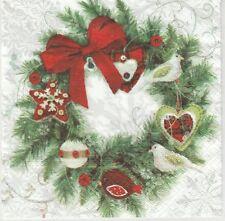 2 Serviettes en papier Couronne de Noël - Paper Napkins  Wreath with Birds
