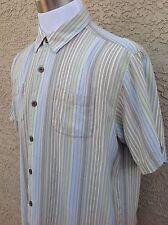 Men's Tommy Bahama XL 100% Silk Blue/Green/Beige Tropical Shirt C99