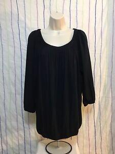 Michael-Kors-Black-Pleated-Stretch-Tunic-Top-Women-s-Size-Large-Elastic-Hem